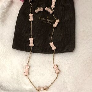 Kate Spade Gold & Pink Bow Necklace and Earrings